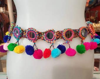 Ethnic belt with mirrors and pompoms or rattles, Boho belt, hippie belt