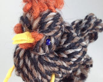 Wool Chicken Sculpture. Backyard Chicken Substitute. Spring Chicken for Bird Lovers. Gift for Urban Farm Dreamers. Urban Farmhouse Decor.
