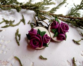 Elegant earrings with purple roses, floral jewellery