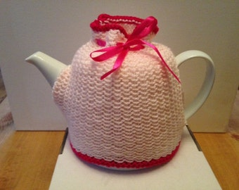 Bespoke Hand Knitted Pink Tea Cosy
