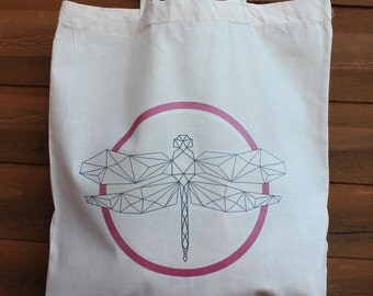 Geometric Dragonfly Design Tote Bag, Free UK P&P
