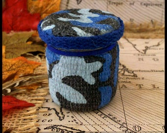 Combat Army Camoflauge Hand Decorated Mini Secret Stash Jar Herbs/Pills/Jewellery...Wedding/Party Favour Gift 45ml