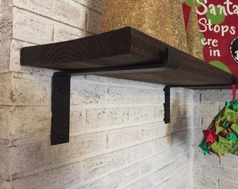 12 inch deep x 2 wide x 1/4 thick  Steel shelf bracket, Rustic shelf bracket, Industrial shelf bracket, Handmade shelf bracket