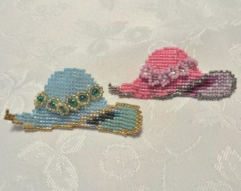 Hat Brooch - Light Blue / Pink