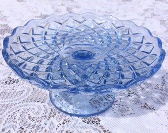 Beautiful Blue cut Glass Small Cake Stand