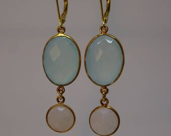 Earrings Crystal Mint white