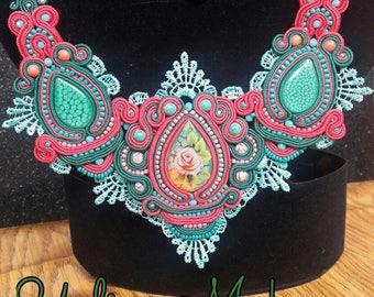 "Sounache necklace ""Rosie"" in the technique of soutache embroidery"