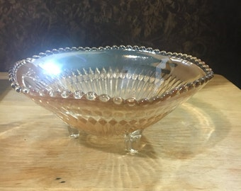 Champagne/Peach Colored Footed Candy Dish
