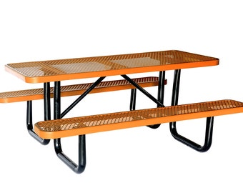 "72"" Metal Rectangular Outdoor Picnic Table Attached With Seats"