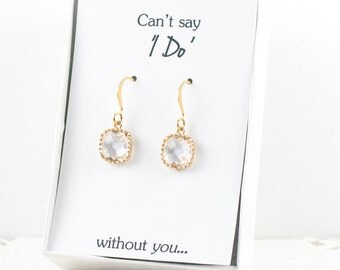 Crystal Gold Earrings, Gold Clear Square Earrings, Crystal Wedding Jewelry, Bridesmaid Gift, Bridesmaid Earrings, Crystal Bridal Accessories
