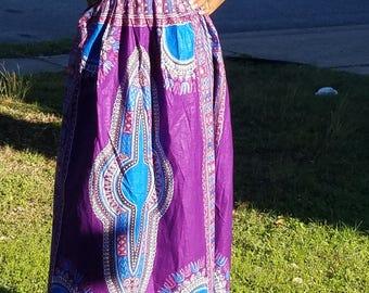 Purple Danshiki Maxi Skirt; African Maxi Skirt; Ankara Maxi Skirt; Ready to ship