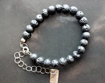 Black lava beads bracelet, silver chain, woman bracelet, gift for her