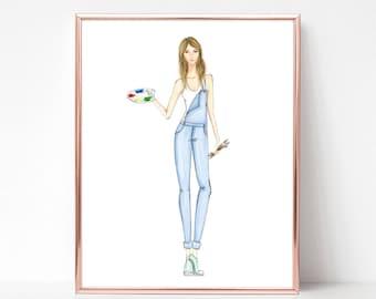 Artist, creative soul, painter, fashion illustration print, art print, sketch, croquis,
