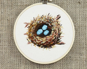 "Nest & Turquoise Eggs, 5.5"" Embroidery Hoopart hand embroidered, handmade, wallart, fiberart, spring, birds, farmhouse"