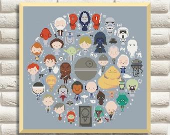 BOGO FREE! Star Wars Cross Stitch Pattern, Mini Pixel People Counted Cross Stitch Chart, Han Solo, Pr. Leia, PDF Instant Download, #30
