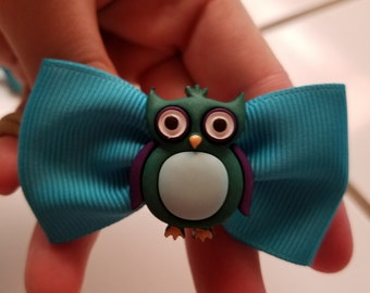 Blue fabric bow with owl in center nylon headband baby