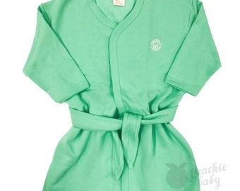Organic Cotton Sherpa Kids Robe - Mint