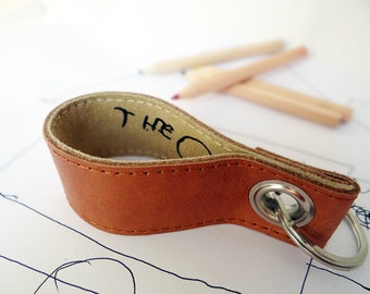 Key fob, leather, children's writing