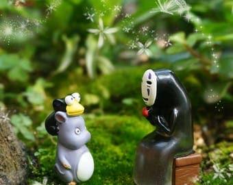 2pcs Spirited Away Characters  No Face Man Lure Mouse , Ghibli Studio Fairy Garden Supplies Succulent Terraium  Accessories
