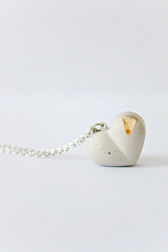 Concrete Jewelry: Concrete Heart Necklace /Cement Jewelry/ Modern /Gold Leaf/ Minimalist Jewelry/