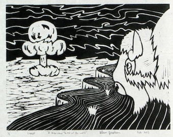 A bison views the end of the world—Linocut