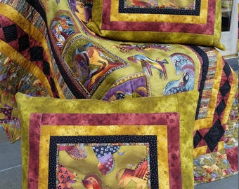 """Laurel Burch quilt """"Mythical Horses"""" with 2 pillow cases"""