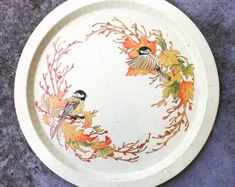 Retro Bird Finches Print Metal Serving Tray