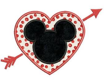 Mickey Mouse Embroidery Design - Mickey Applique design - Mickey with heart - Disney embroidery - Heart Applique - Love - Applique pattern