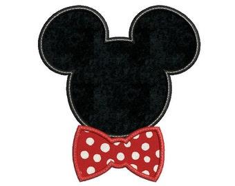 Mickey mouse head embroidery design - Mickey embroidery design - Bow - Tie embroidery - Boy - Disney embroidery design - Mickey applique