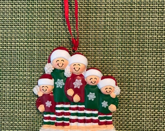 Personalized family of five Christmas ornament