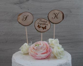 Cake topper / natural wood / wedding / names