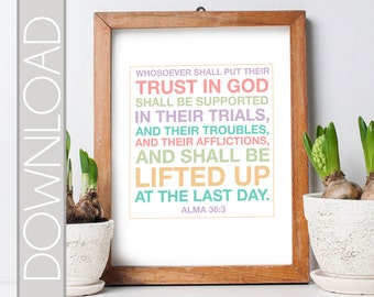 Book or Mormon Scripture Verse 8.5x11 Printable Poster