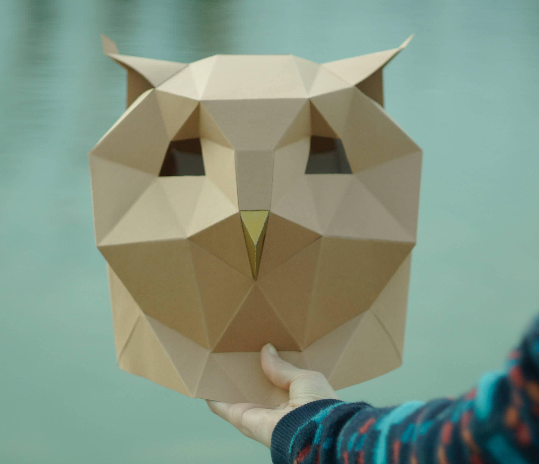 owl mask diy head instant pdf download bird mask paper mask