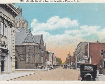 Martins Ferry, Ohio Vintage Postcard - 4th Street Looking North