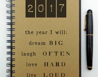 2017 Journal, Writing Journal, Dream Big, 2017 Notebook, Hardcover, Spiral, Chalkboard, Blank, Dotted, Bullet Journal