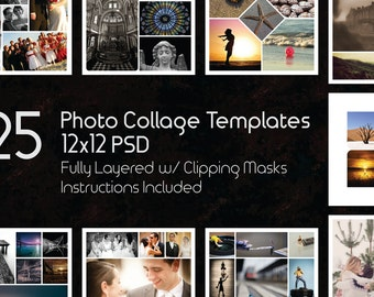 12x12 Photo Collage Templates Pack, 25 PSD Templates, Photoshop Collage Templates, Scrapbook, Storyboard Template, 2 Styles Square and Round