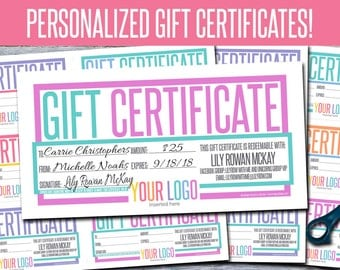 Gift Certificates! Personalized! Print Your Own! - GFC07