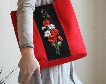 Red summer bag Women fabric handbag Red poppy Tote bag for her Gift bag for teacher Flower women handbag Red black totes Canvas red bag