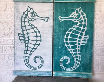 Sea Horse Wall Art, Seahorse, Turquoise, Teal Coastal Sea Life Decor, Nautical Home, Beach House Wall Hanging