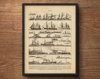 Nautical wall art, Sailing art, Sailboat wall art, Vintage sailboat, Framed art, Framed poster, Nautical prints, Beach art, Vintage art