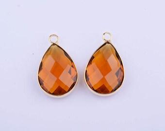 2pcs 14k gold/rose gold plating framed teardrop glass bead pendant/charm/necklace