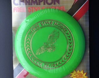 80s New Old Stock Imperial Champion Free Style Flying Disc High Tech Flyer USA Bright Green