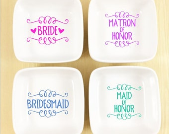 Personalized Bridesmaid Gift - Bridal Party Jewelry Dish - Wedding Gift - Bridal Shower Gift - Bridesmaid Proposal - Ring Dish for Wedding