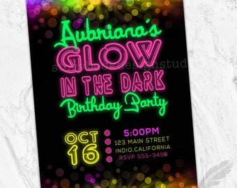 Neon Glow Birthday Party Invitations , neon, glow on the dark, glowing, paint, party, digital file, printable