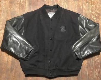"""Black On Black """"a Bear For Wear Fine Outerwear"""" Wool And Leather Bomber Jacket"""