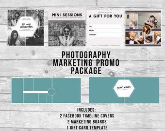 Marketing Templates Promotion Pack for Photographers   Mini Session   Gift Card   Photo Grid   Facebook Timelines