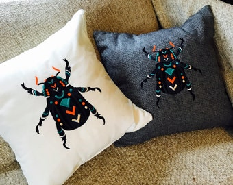 Neon Beetle Embroidered Pillow