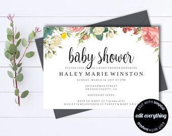 Floral Baby Shower Invitation Template - Floral Baby Shower Templates - Instant Download Girl Baby Shower Invites - Editable Baby Shower