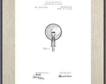 Thomas Edison Electric Lamp 'Light Bulb' Patent Print, an Interpretive Reproduction Illustration by Henry Holly