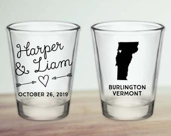 Custom Vermont Wedding Favor Shot Glasses
